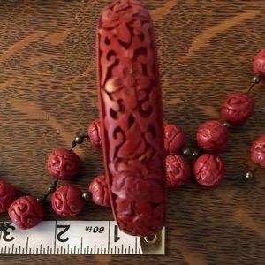 Red carved Cinnabar style bangle bracelet